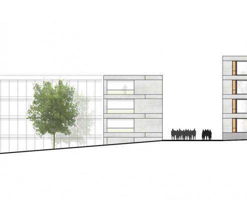 2013-03-07 Wohnheimneubau Reutlingen - 3P-Architekten -Stuttgart -Nordwestansicht
